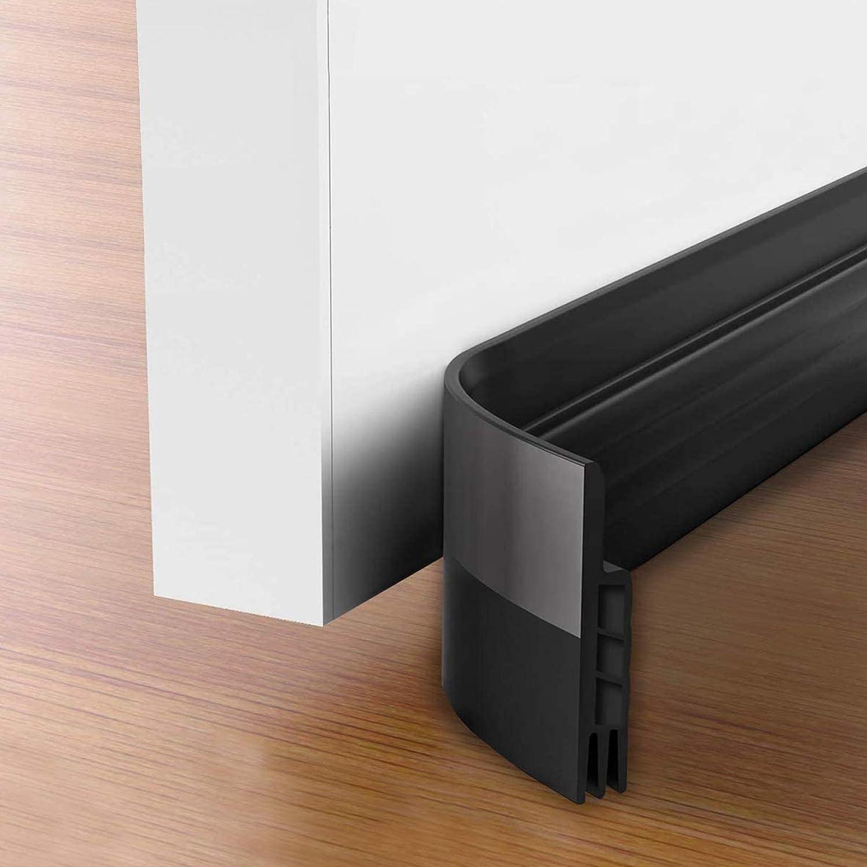 Black 36 and 42 Inch Interior Doors 32 42 inch Length Adjustable Suitable for 30 USUKUE Twin Door Draft Stopper Under Door Bottom Seal Strip Noise Blocker for Door Insulation and Soundproofing