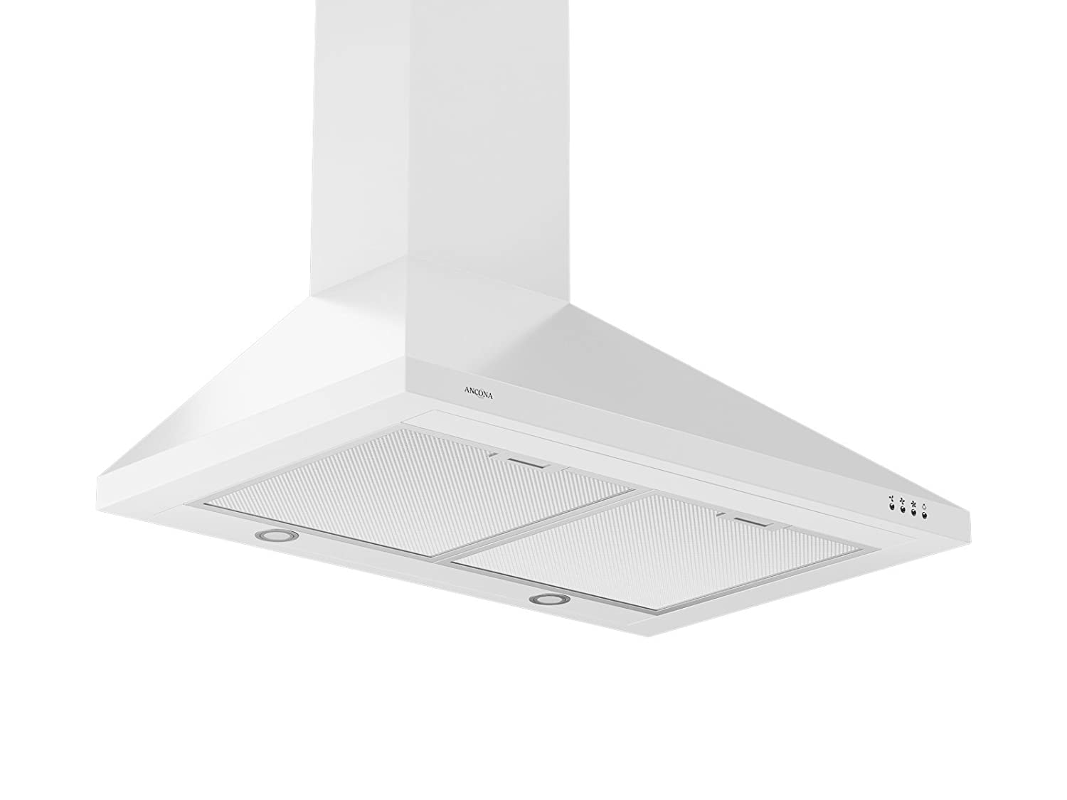 Ancona WPPW430 Wall-Mounted Classic Pyramid Style Convertible Range Hood, 30-Inch, White