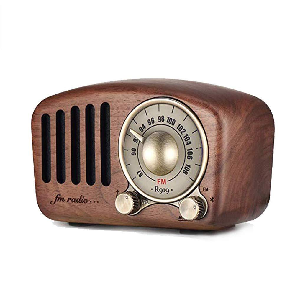 ブルートゥース、クルミの木の小型携帯用ブルートゥースのスピーカーのステレオの豊富な音が付いているヴィンテージラジオ、ブルートゥース4.2、補助のTFカードエムピースリープレーヤーを支えます   B07S8P48WK