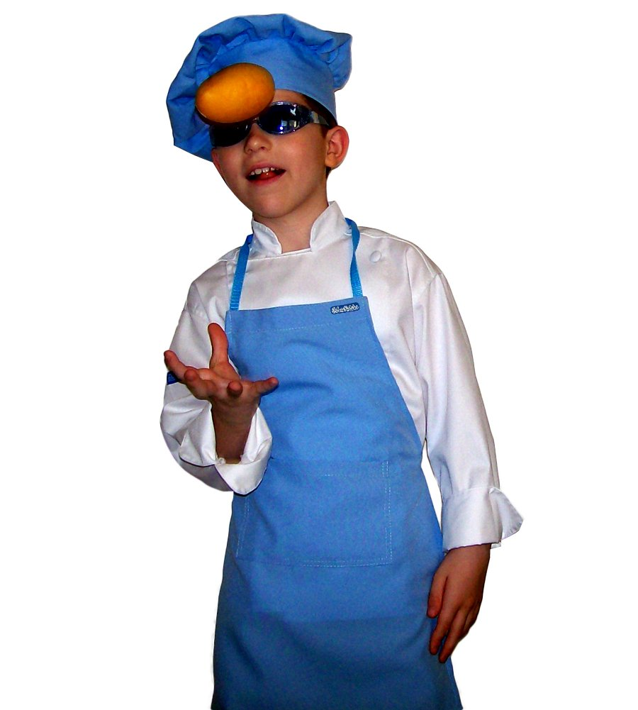 CHEFSKIN Medium Children Kids Baby Blue Chef Set Apron & Adjustable Hat Quality Lite