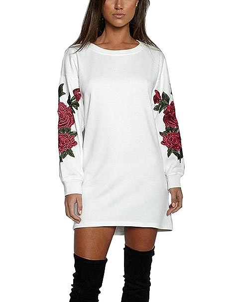 Vestito Felpa Donna Maglia Manica Lunga Elegante Moda Vestitini Autunno  Inverno Camicie Blusa Felpe Tumblr Lunghe Ragazza Sweatshirt Fiori Blusa  Pullover ... 467c31c1bb6