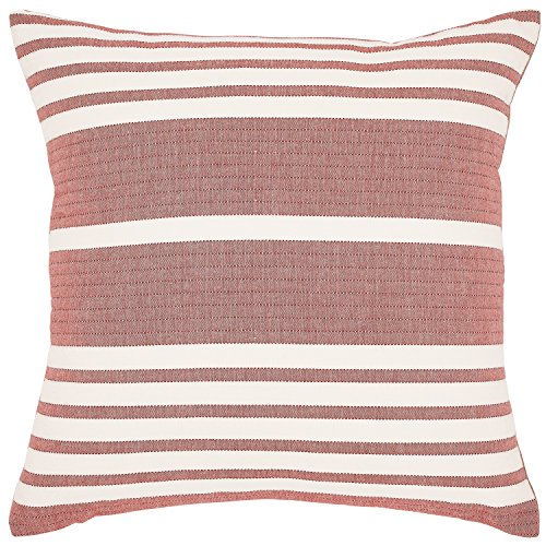 """Stone & Beam Casual Striped Throw Pillow, 17"""" x 17"""", Brick Red"""