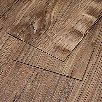 "MAYKKE 47 Sq Ft Restored Pine Vinyl Plank Flooring 48"" x 6"" Resembles Hardwood Or Use for Wood Accent Wall Pack of 24, Easy Install, Pine Brown"