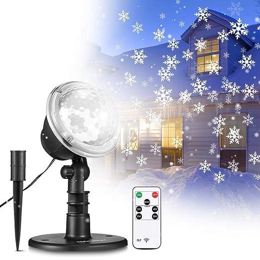Luces de Proyector de Navidad, Luz de Proyección 2 in 1 Ondas de agua Patrones móviles Lámpara decorativa giratoria con control remoto,IP65 a prueba ...