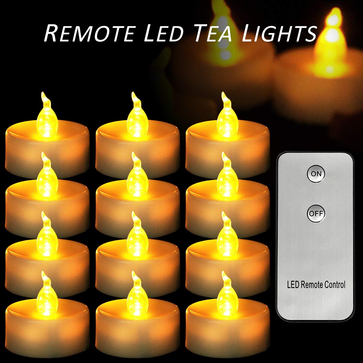 Micandle 12 Pack Remote Candles,Led Flameless Remote Tea Lights for Wedding Party Church Home Decorate,Last up to 48 Hours,Battery Amber Flickering Remote Tealights for Wedding Party by Micandle (Image #1)