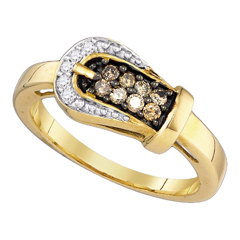 0.24ctw Cognac Champagne Brown Round Diamond Belt Buckle Ring Wedding Band