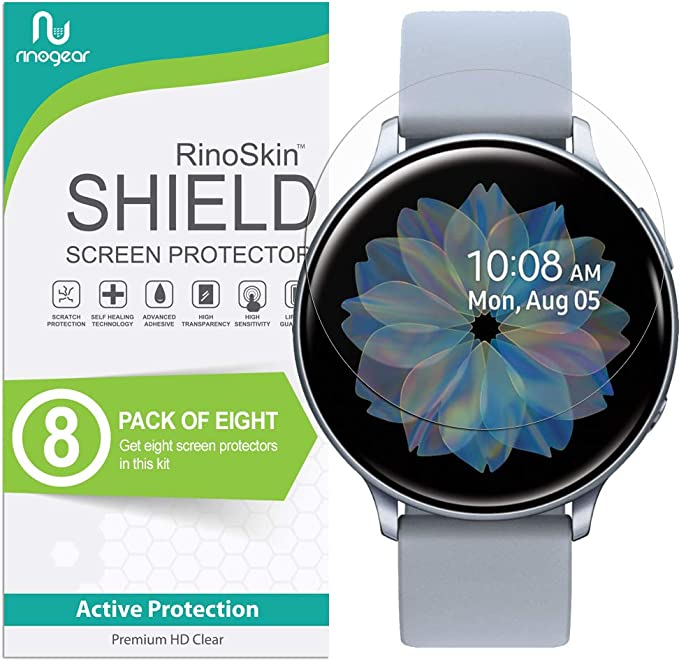 (8-Pack) RinoGear Screen Protector for Samsung Galaxy Watch Active 2 (44mm) Case Friendly Samsung Galaxy Watch Active2 (44mm) Screen Protector ...