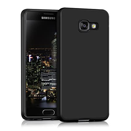 kwmobile TPU Silicone Case for Samsung Galaxy A3 (2016) - Soft Flexible Shock Absorbent Protective Phone Cover - Black Matte