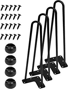Y&Y Decor 16 Inch Heavy Duty Hairpin Furniture Legs, Metal Home DIY Projects for Nightstand, Coffee Table, Desk, etc with Rubber Floor Protectors Black 4PCS