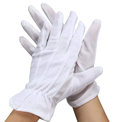 great deals website for discount sneakers uxcell 1 Pair White Soft Cotton Non Slip Full Finger Driving Gloves