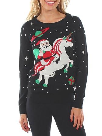 ce09efad74 Women s Santa Unicorn Christmas Sweater - Ugly Christmas Sweater for ...