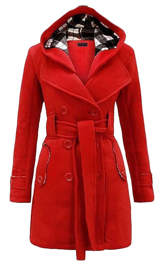 NQ Womens Winter Slim Belt Hooded Peacoat Warm Fleece Trench Coat