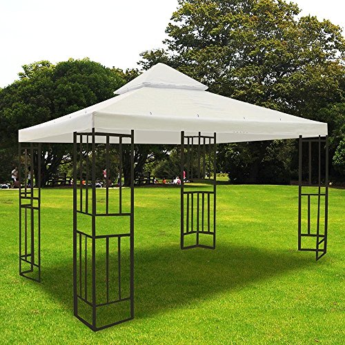 Ivory 12x12' Square Feet Garden Canopy Gazebo Replacement Top 2 Tier Outdoor Patio UV Block Sun Shade Waterproof Polyester Fabric 145 Sq. In. Tent Heavy Duty