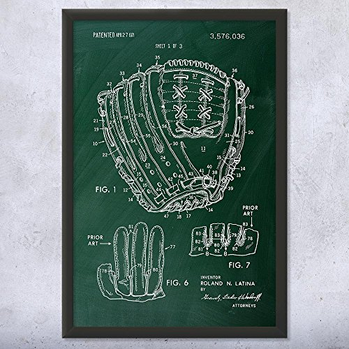 (Framed Baseball Glove Print, Center Fielder, World Series, Little League, Baseball Mom Dad, Baseball Player, Coach Gift Chalkboard (Green) (8
