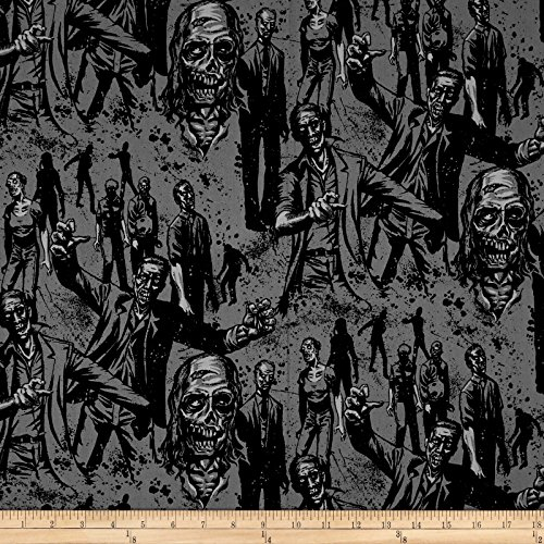 Alexander Henry Zombie Charcoal Fabric by The Yard -