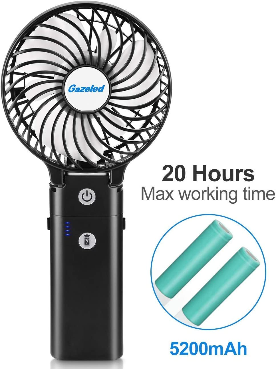 Camping Gazeled Handheld Fan USB Powered Fan with 5200mAh Power Bank 4 inch Battery Operated Personal Fan Portable Rechargable Battery Powered Fan 3 Settings Strong Wind for Travel 5-20H