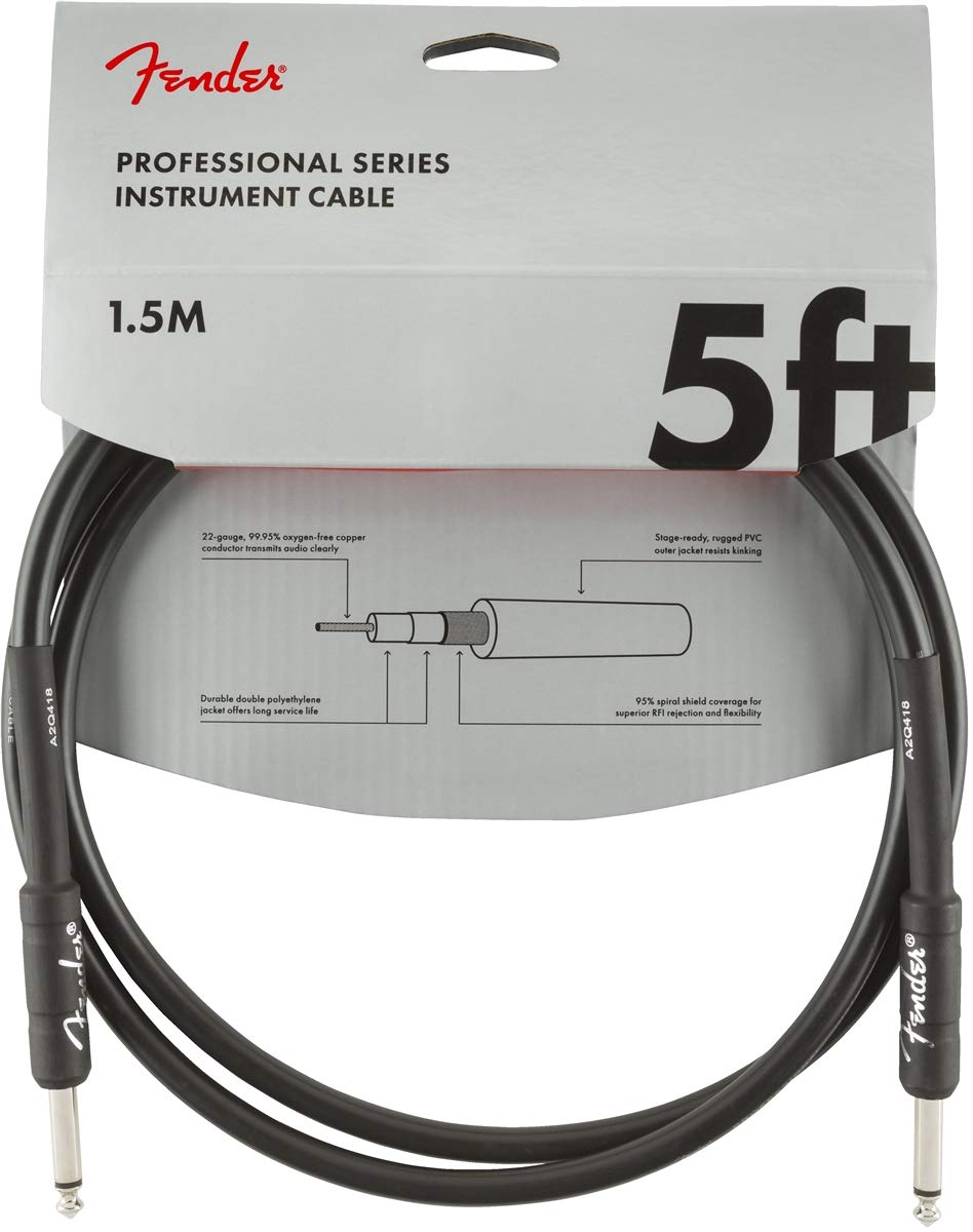 Black Fender Professional 25 Instrument Cable