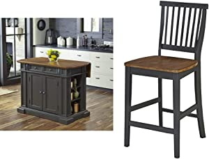 Home Styles Americana Gray Kitchen Island with Drop Leaf by Home Styles & Gray Counter Stool