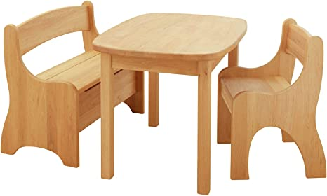Savings Set Levin Table Chair And Bench Biological Alderwood Amazon De Kuche Haushalt