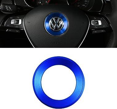 LECART 3Pcs Centre Console Air Conditioning Knob Cover Trim Aluminum Alloy Air Conditioner Radio Volume Button Knob Covers Compatible for Volkswagen VW Tiguan L CC Passat B7 B8 T-ROC Blue, Style-A