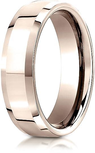 ce032eea6baa0 Benchmark 14K Rose Gold 6mm Comfort-Fit High Polished Carved Design ...