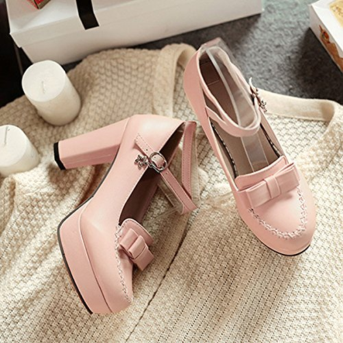 CHNHIRA Pink Bowknot Toe Summer Bright Women's Block Belt High Court Shoes Heel wqaZxwPr