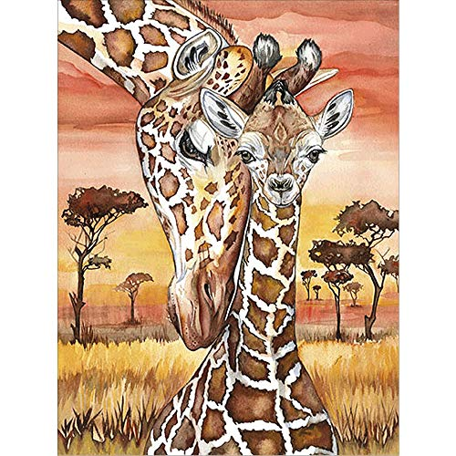 (5D Diamond Painting Kit,Painting Diamonds Drills,Giraffe Mother and Kid Rhinestone Embroidery Cross Stitch Kits Supply Arts Craft Canvas Wall Decor Stickers Home Decor 12x16 inches)