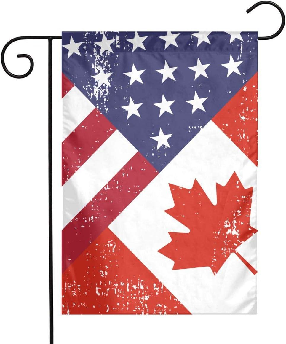 Retro America Canada Flag Garden Flag House Banner - 12 X 18 Inch