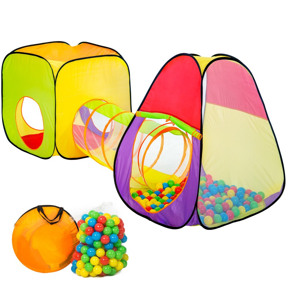 TecTake Kids Pop up Play Tent ball pit | incl. 200 balls + bag | -different models- (Type 1 | no. 401028)