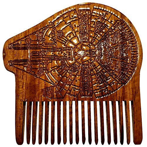 (Beard Gains - Star Wars Millenium Falcon Wood Beard Comb)