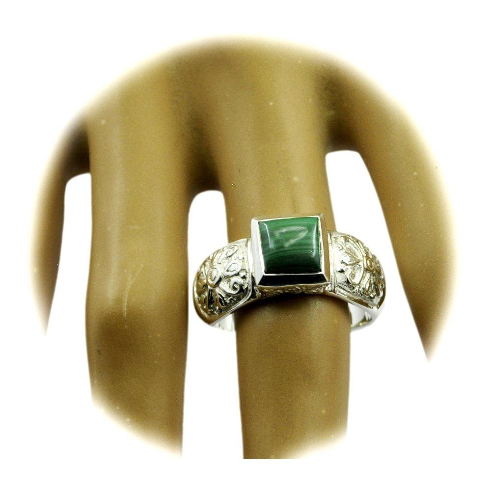 Genuine Malachite Ring Vintage Handmae Sterling Silver Square Shape Green Stone Size 5,6,7,8,9,10,11,12