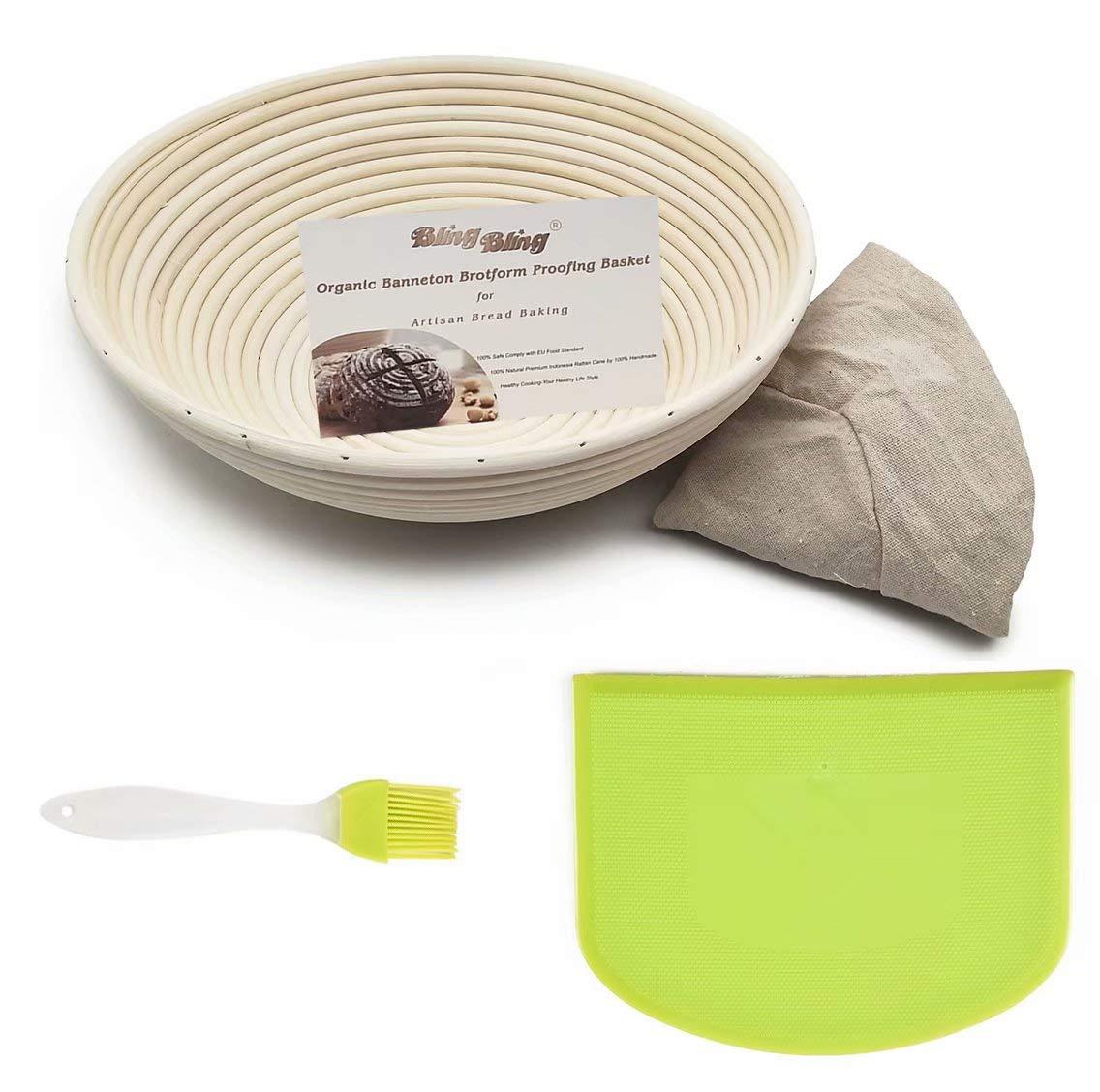 Bread Proofing Basket 7 Inch Best for Artisan Bread Making Sourdough and Dough Scraper Banneton Rattan OBeauty