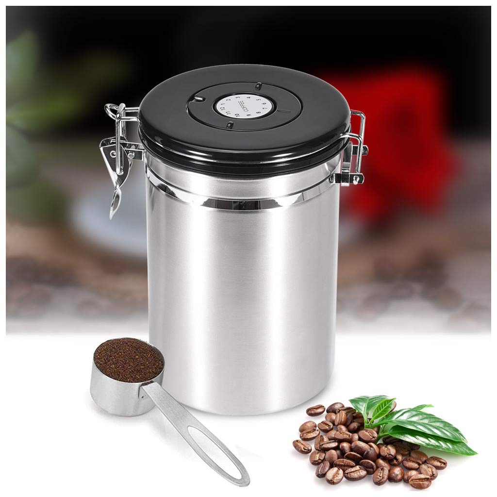 Coffee Canister with Scoop, Mosunx Stainless Steel Coffee Bean Storage Container with Built-in CO2 Gas Vent Valve, Keeps Your Coffee Fresh (Sliver, 5.04 Inch Diameter, 7.5Inch Tall) by Mosunx