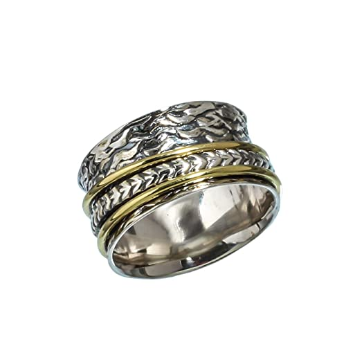Spinner Meditation Ring Silver Band Ring Silver Spinner Ring 925 Silver Ring White Topaz Ring Thumb Ring Sterling Silver Spinner Ring