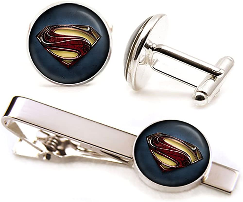 SharedImagination Superman Cufflinks, Man of Steel Tie Clip Tack, Justice League Jewelry, Superhero Wedding Party Jewelry, Groomsmen Gift