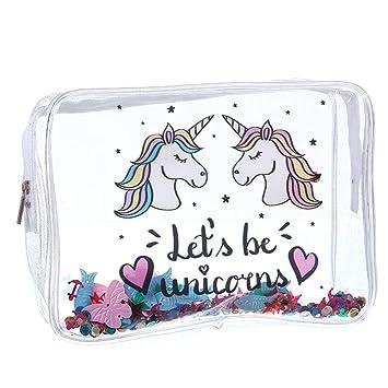 Bolsa de aseo con diseño de unicornio, transparente, gran capacidad, para niñas y mujeres