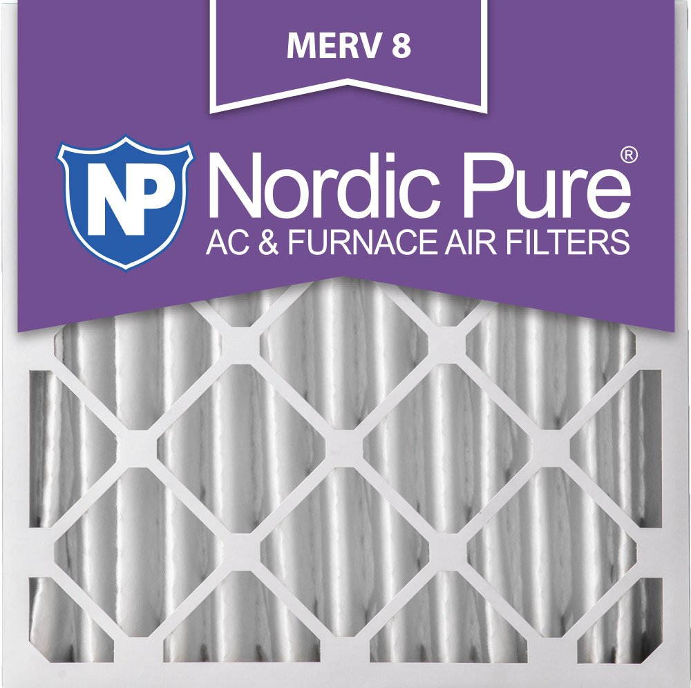 1 Pack MERV 8 Pleated AC Furnace Air Filters Nordic Pure 16x25x4 3-5//8 Actual Depth