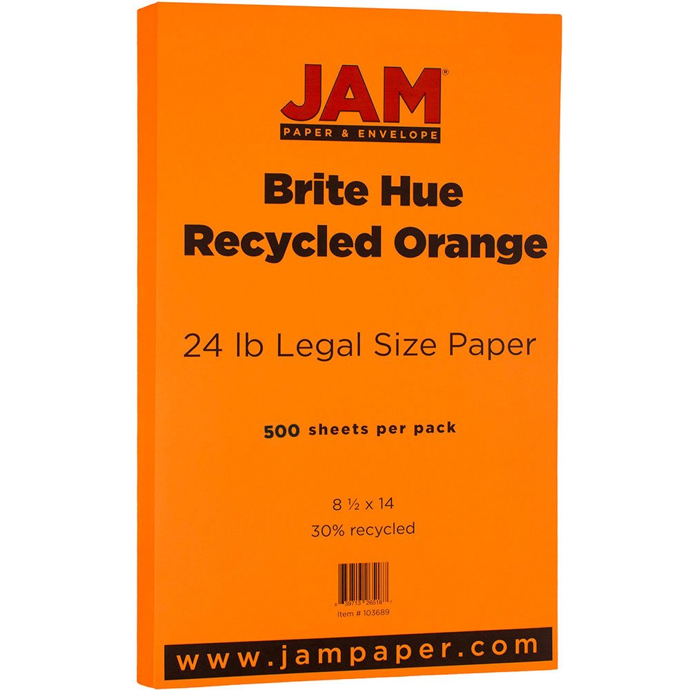 JAM PAPER Legal Colored 24lb Paper - 8.5 x 14 - Orange Recycled - 500 Sheets/Ream