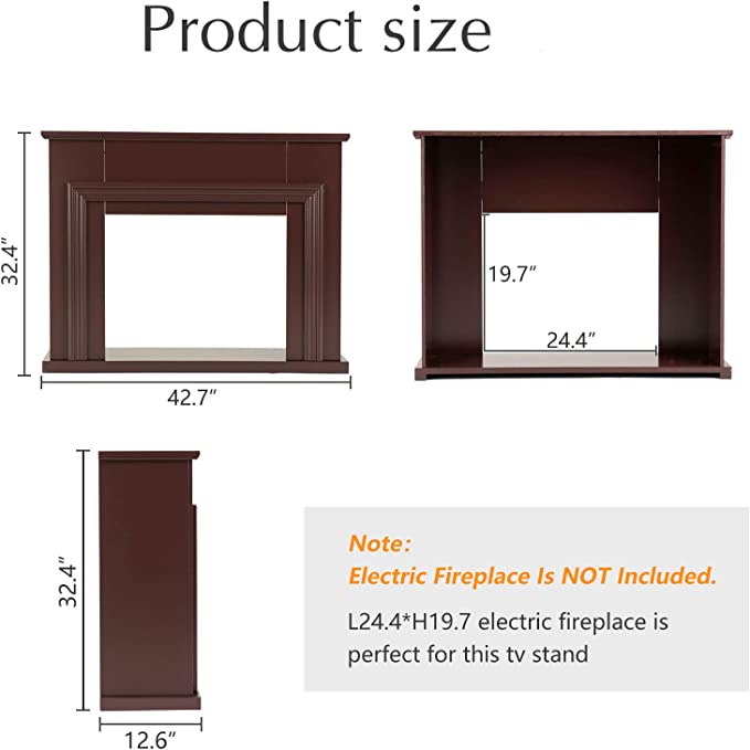 mecor Fireplace Mantel Surround,Electric Fireplace TV Stand,Living Room Furniture Brown