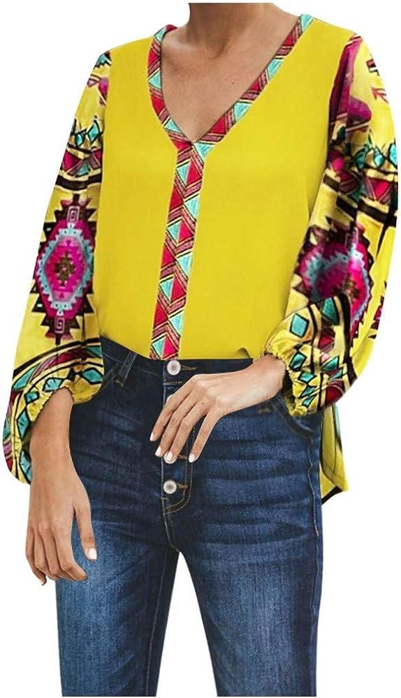 HOUMENGO Camisas Mujer Blusa Camisetas Manga Larga Sexy Tops Boho Tallas Grandes Casual Retro Imprimir Cuello En V Folk Personalizado Camisetas y Tops Pullover: Amazon.es: Ropa y accesorios