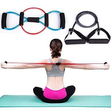 Micrael Home Bandas De Resistencia Entrenamiento Ejercicio Tubo, Yoga Tubo Muscular Fitness Workout Tubos, 8 Tipo Azul, 1 Tipo Negro, O Tipe Rojo - 3 ...