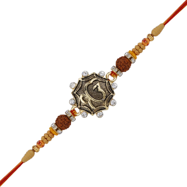 Rakhi Thread for Brother for Raksha Bandhan Handmade ek onkar Design Rakhi Rakshabandhan Bracelet with Resin /& Faux Stones in Kundan Design