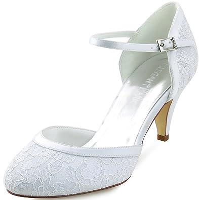 4a0cda6a9986 Elegantpark HC1508 Women s Kitten Heels Prom Closed Toe Lace Strap Buckle  Wedding Bridal Court Shoes White