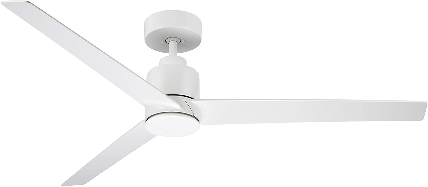 Kathy Ireland Home Arlo Ceiling Fan with Remote Control, 54 Inch| Indoor/Outdoor Metal Fixture with Weather-Resistant Blades | Light Kit Adaptable, Satin White