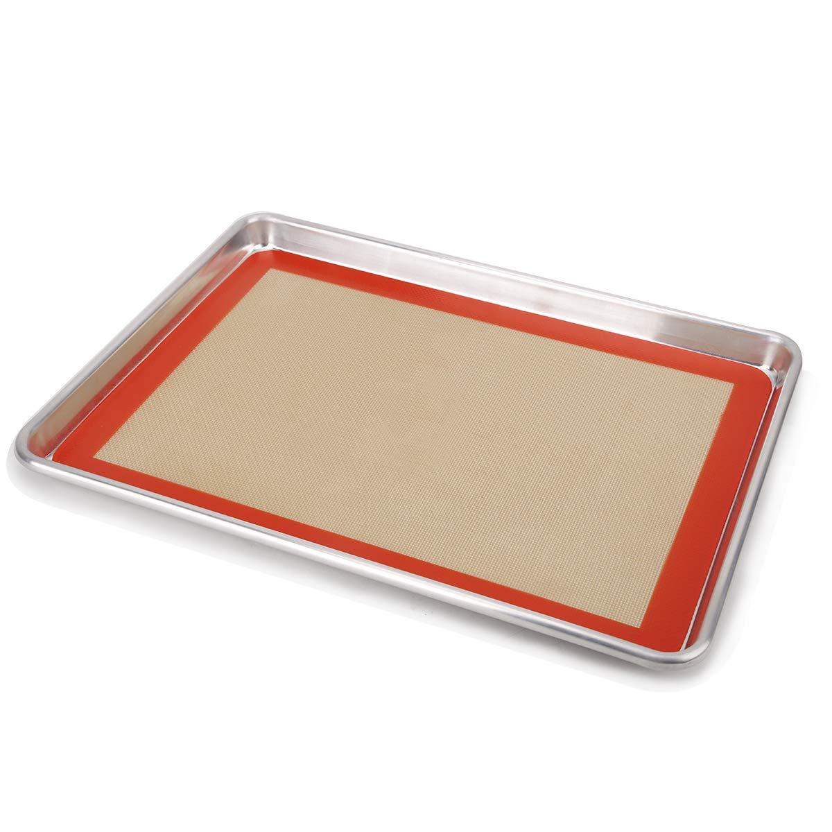 Silicone Baking Mat Set Half Sheets Cooking Macaron Pastry Mats, Non-Stick Large Liner 11 5/8 ×16 1/2 by HANTAJANSS
