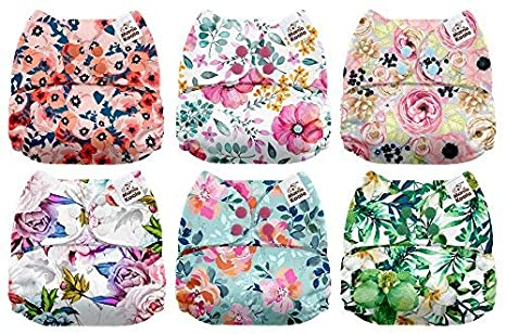 Mama Koala One Size Baby Washable Reusable Pocket Cloth Diapers, 6 Pack with 12 Bamboo Inserts (Fairy Magic)