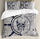 Nautical Duvet Cover Set King Size by Lunarable, Marine Theme Digital Image Skull Helm Ocean Inspired Image Vintage Pattern, Decorative 3 Piece Bedding Set with 2 Pillow Shams, Dark Blue Grey