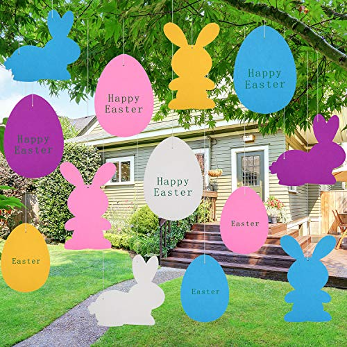 Chuangdi 20 Pieces Easter Hanging Decoration Yard Sign Decorations Felt Egg Ornament Felt Bunny Garland for Party Easter Lawn Decorations