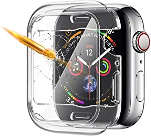 [Upgrade] Tempered Glass Screen Protector Case Compatible for Apple Watch 44mm, SIRUIBO TPU Bumper Case Easy Install Slim Touch Accessories Overall Protective Cover for iwatch Series SE 6/5/4 Clear