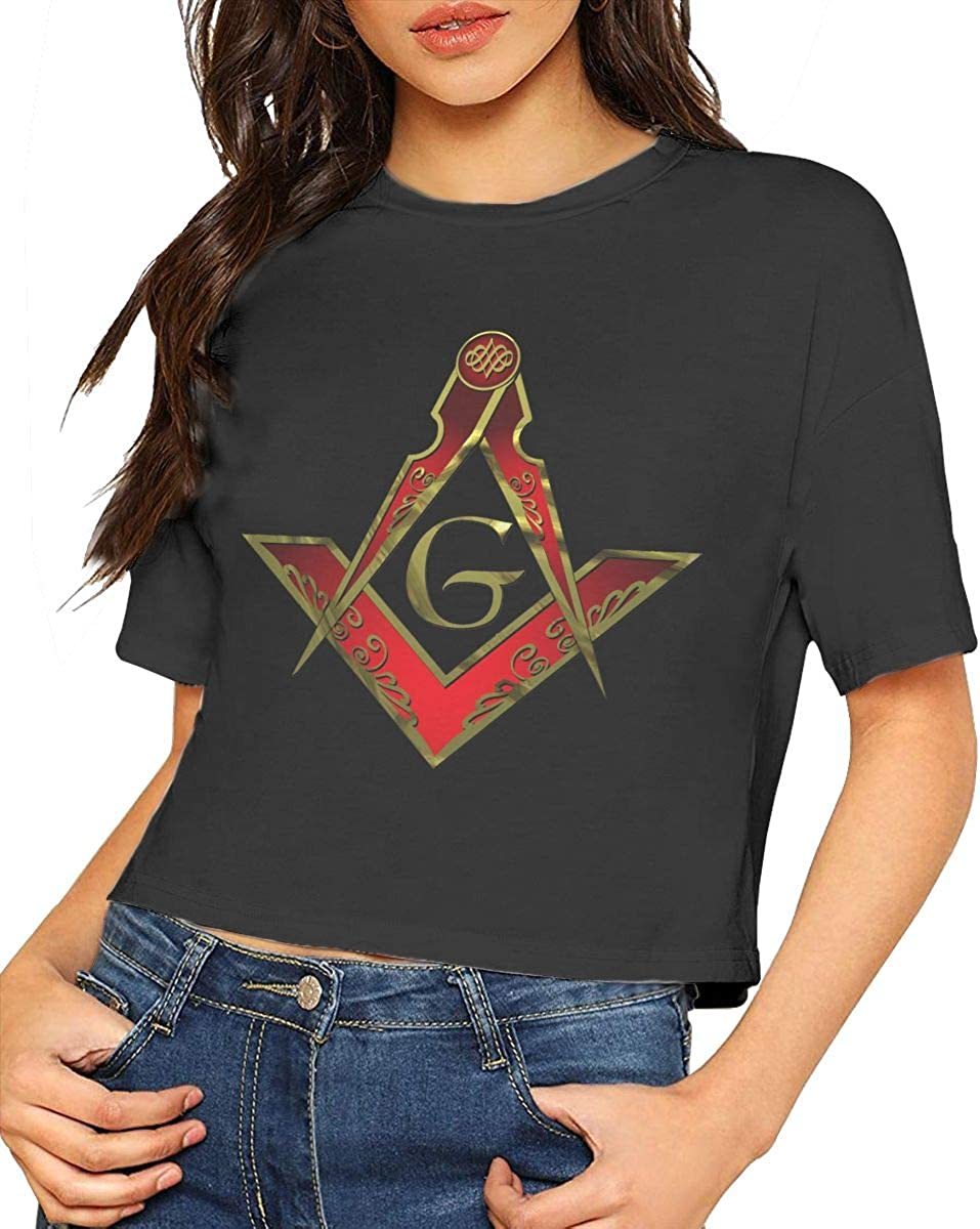 Chouven Womens Crop Top Freemason Square and Compass Red Round Neck Short Sleeve Shirts